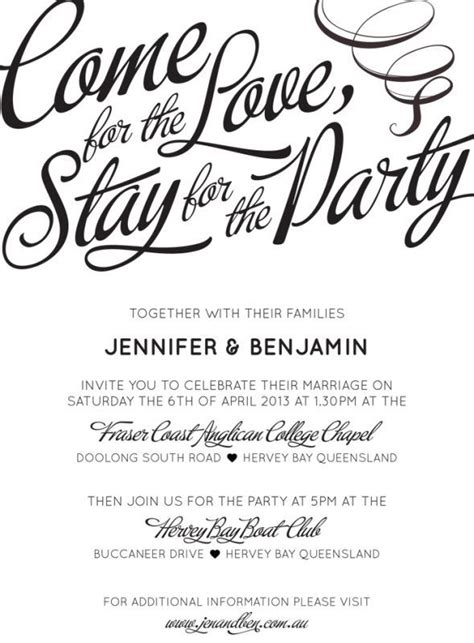 casual wedding invitation wording for s marriage quot come for the stay for the quot that