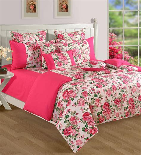 printed bed sheets swayam white n pink floral printed double fitted elastic bedsheet set by swayam