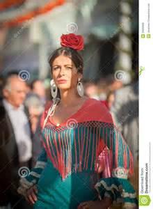 seville spain april 25 women in flamenco style dress