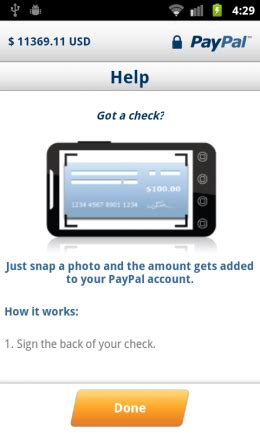 Paypal Background Check Paypal Android App Lets You Deposit Checks By Snapping A Picture