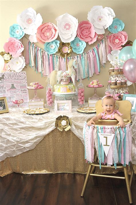 themes first birthday party baby girl a pink gold carousel 1st birthday party party ideas