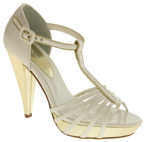 Gold Strappy Shoes Wedding by White Gold T Bar Platforms Strappy Wedding Heels