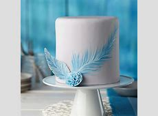 Painted Blue Feather Fondant Cake | Wilton Ideas For Decorating A Cake For Christmas