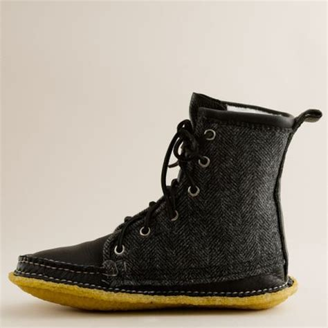 quoddy grizzly boot j crew quoddy 174 tweed and leather grizzly boots in black lyst