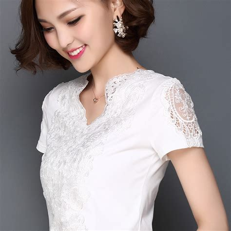 Blouse Cotton Lace G216533 2017 fashion summer blusa white lace cotton blouse shirt tops plus size