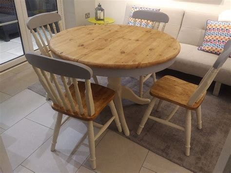 round solid pine grey and cream shabby chic farmhouse dining table with 4 x chairs in