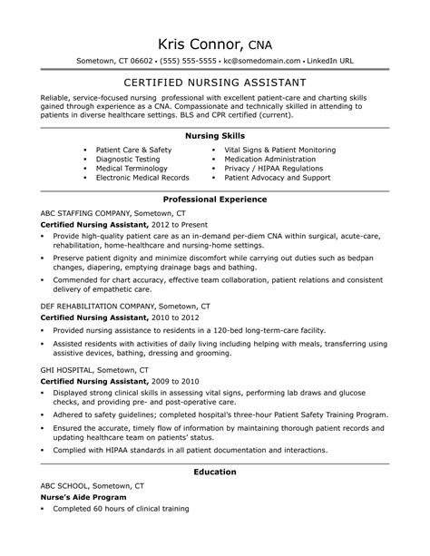 Nursing Assistant Resume by Cna Resume Exles Skills For Cnas