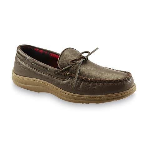 sears slippers for craftsman s leather moccasin slipper brown shoes