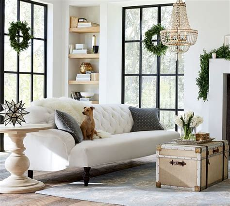 pottery barn tufted apartment sofa clara upholstered apartment sofa pottery barn
