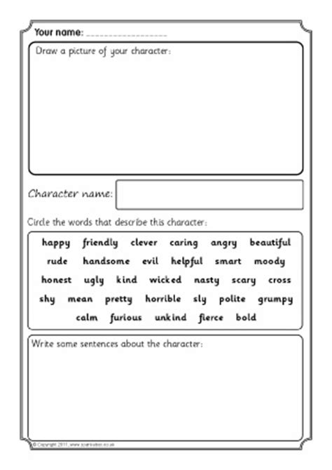 character description writing frames printable page