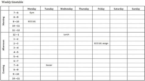 blank revision timetable template new blank revision timetable template free template design