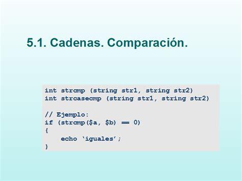 comparacion cadenas en php programando en php ii monografias