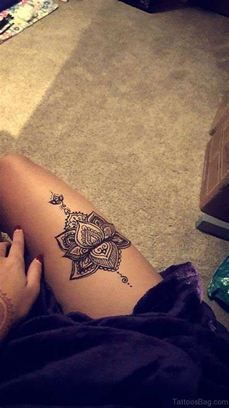 lotus tattoo on thigh 45 best lotus flowers tattoos on thigh