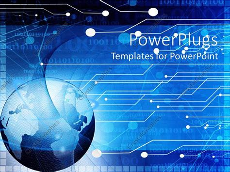 Powerpoint Template Blue Earth Globe On A Digital Technology Board Background 9554 Digital Powerpoint Template