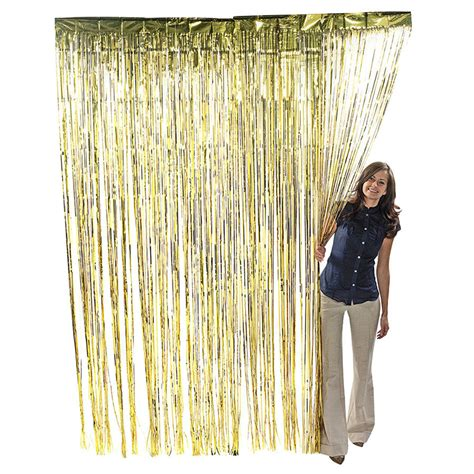 shiny curtains gold metallic fringe curtain party foil tinsel room decor