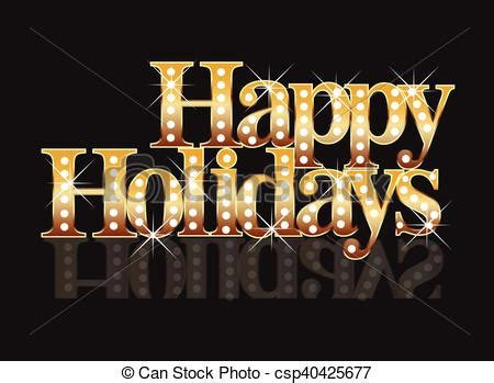 happy holidays gold words template background