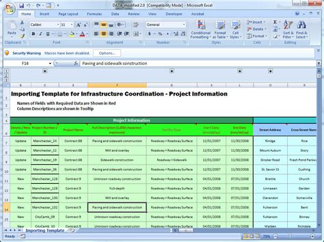 spreadsheet project management template easy data entry