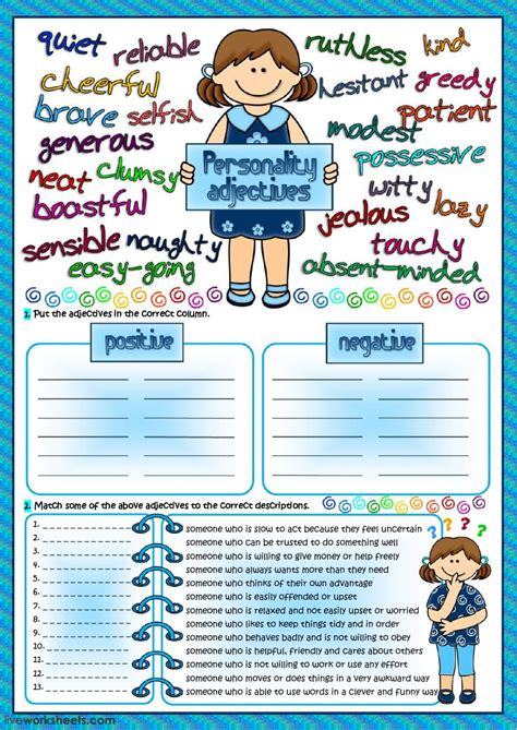 printable games for one person personality adjectives interactive worksheet