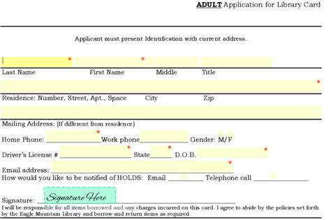 library card application form template form templates seamlessgov