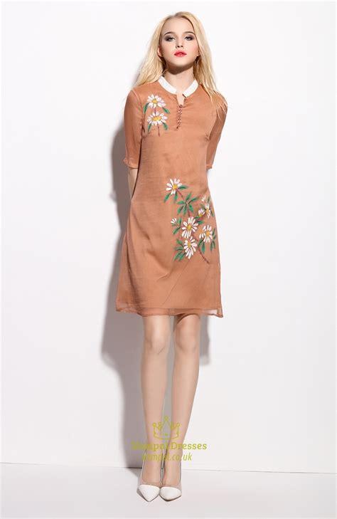 light brown floral print sheer overlay dresses  sleeves vampal dresses