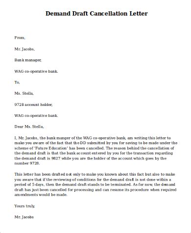 Dd Cancellation Letter Format For Sbh Bank Letter Of Demand Sle 9 Exles In Word Pdf