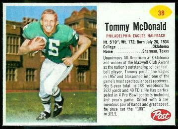 Tommy McDonald - 1962 Post Cereal #38 - Vintage Football ...