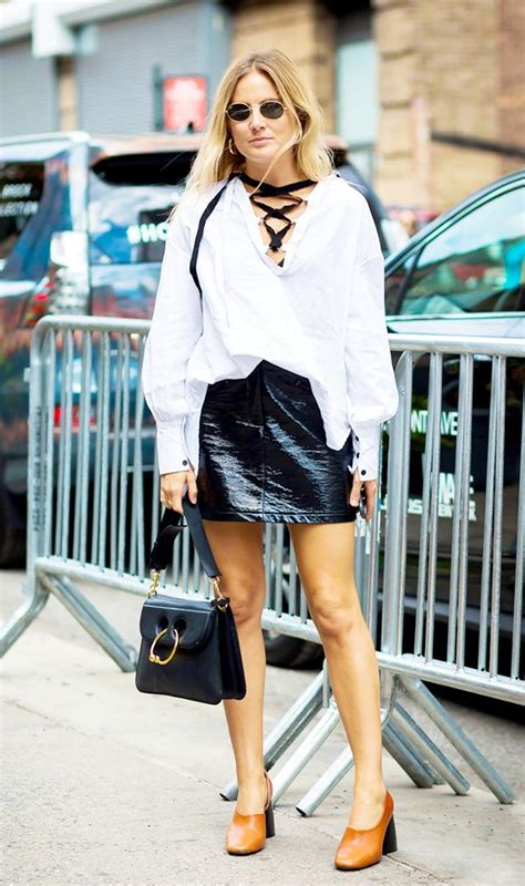 5 ways to wear a leather skirt for summer whowhatwear