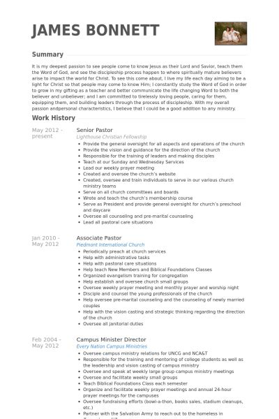 Pasteur Senior Exemple De Cv Base De Donn 233 Es Des Cv De Visualcv Ministry Resume Template