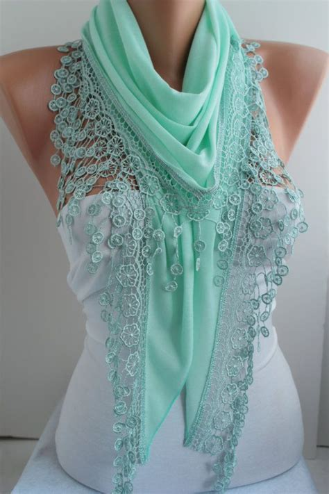 cyber monday mint scarf cotton scarf lace scarf triangle