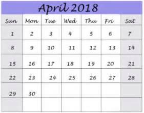 Calendar 2018 Aprilie April 2018 Free Calendar Templates Printable