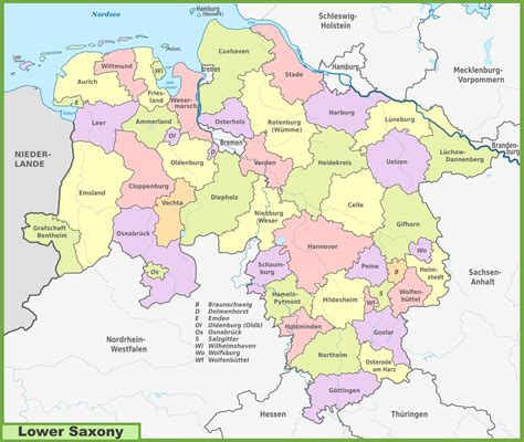 saxony germany map administrative divisions map of lower saxony