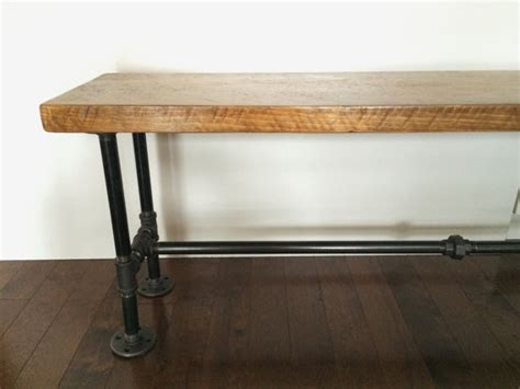 iron pipe bench reclaimed wood bench with industrial iron pipe legs by
