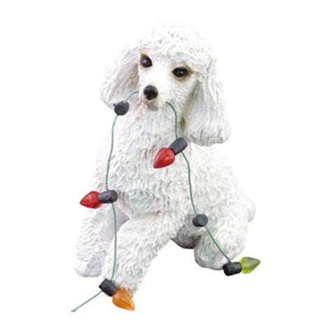 sandicast xso12101 white poodle christmas tree ornament at