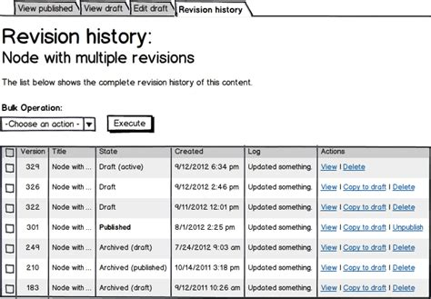 Revision History Template Word