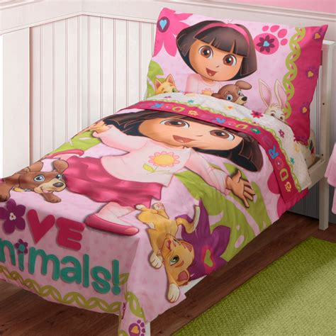 dora 4pc toddler bedding set girls bed comforter sheets ebay adventurous dora the explorer bedroom decor ideas