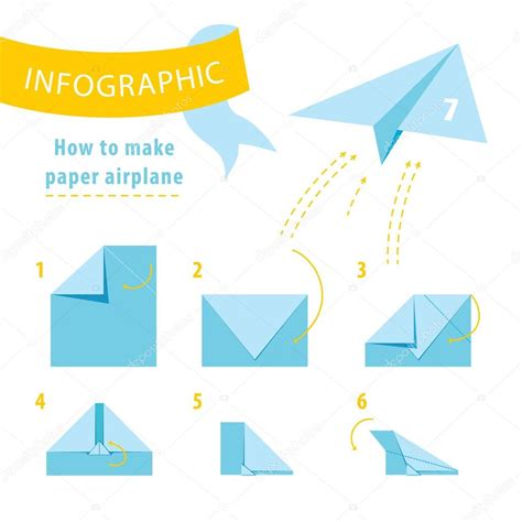 How To Make A Paper Airplane That Turns - infographic tutorial how to make paper airplane vector