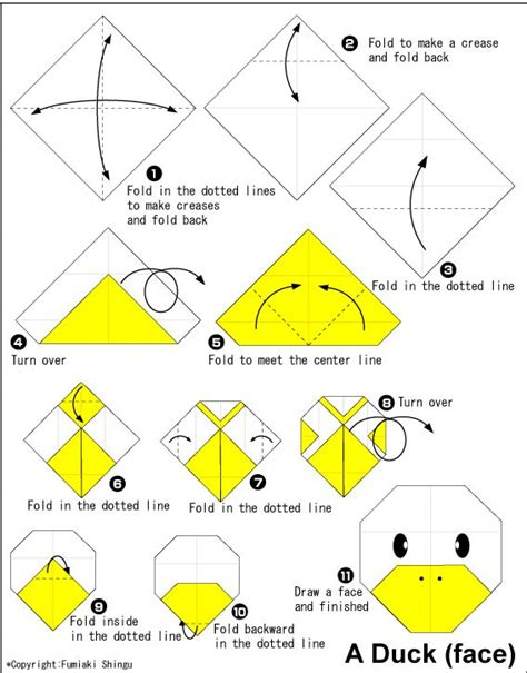 Origami Faces - duck easy origami for crafts