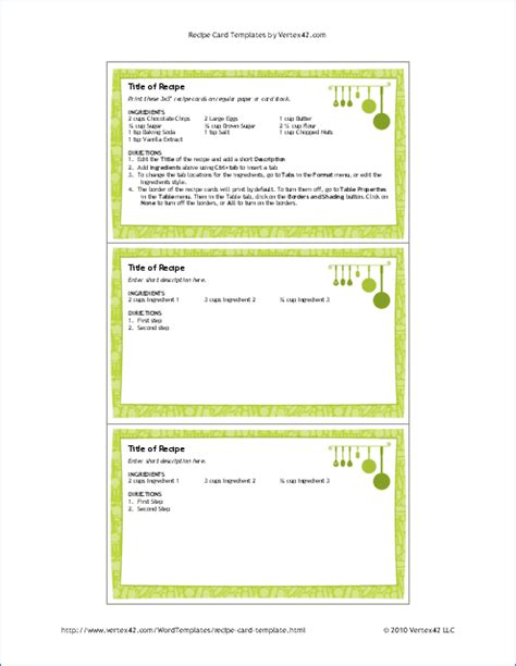 Free Printable Recipe Card Template For Word 3x5 Recipe Card Template