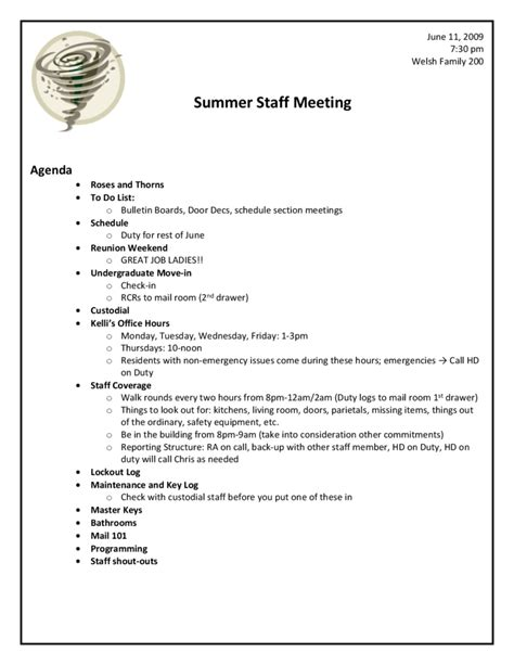 staff meeting agenda template necessary imagine sample agendas and