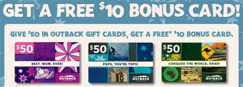 Outback Gift Card Bonus - 10 bonus gift card at outback steakhouse miss money bee