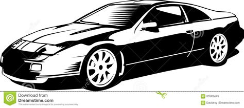 cartoon sports car black and white vintage 80s sports car stock illustration image 63583449