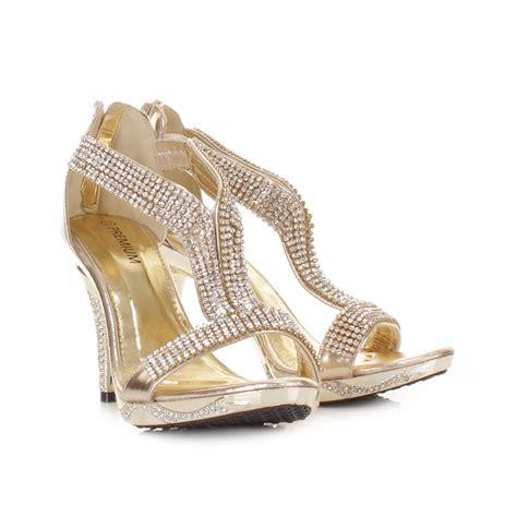 mid heel gold diamante prom wedding evening