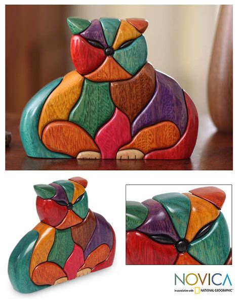 ishpingo wood sculpture patchwork cat the animal