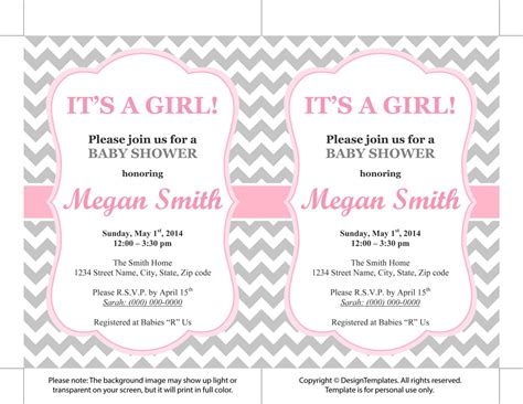 free templates for baby shower invitations girl baby shower invitation templates for a girl theruntime com