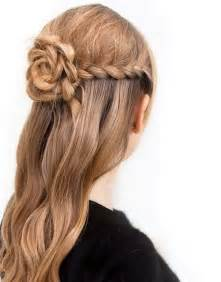 pretty braided flower half updo hairstyle styles weekly
