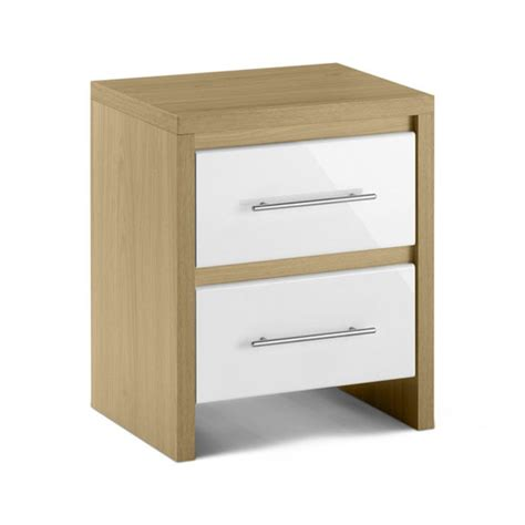 white gloss and oak bedroom furniture elite 2 drawer bedside cabinet in oak and white high gloss