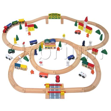 brio wooden train set 100 piece orbrium toys triple loop wooden train set fits