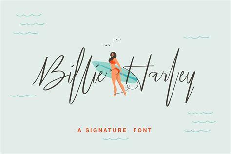 billie harley script font befontscom