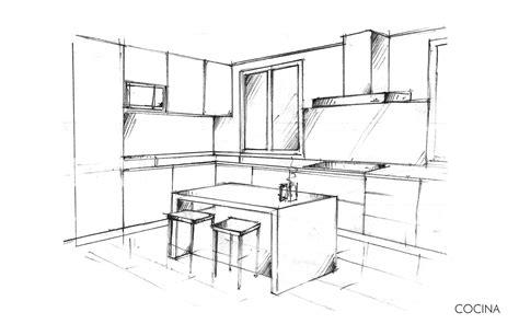 croquis de cocinas reformas de viviendas chalet en somosaguas lalzada