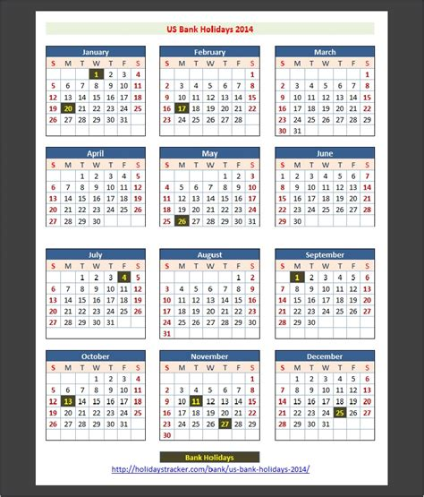 2014 Calendar With Holidays Us Bank Holidays 2014 Holidays Tracker